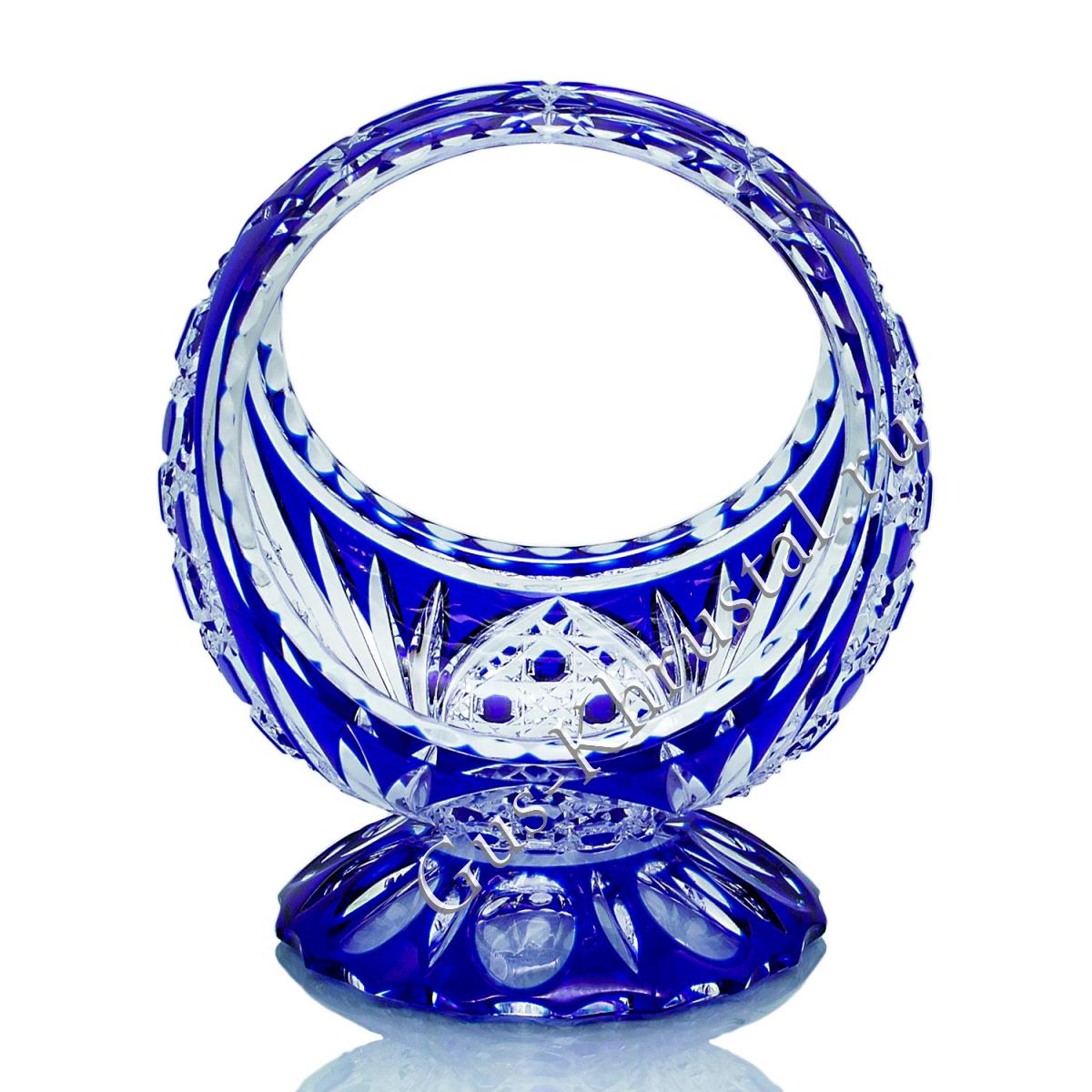 Ваза Корзинка Хрустальная на Подставке синяя малая
