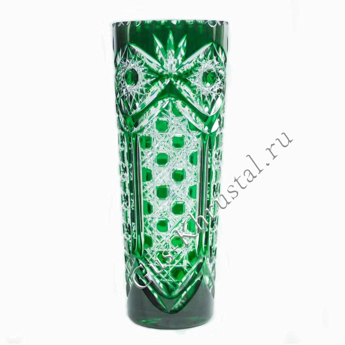 Ваза Хрустальная Для Цветов Столб Зеленый